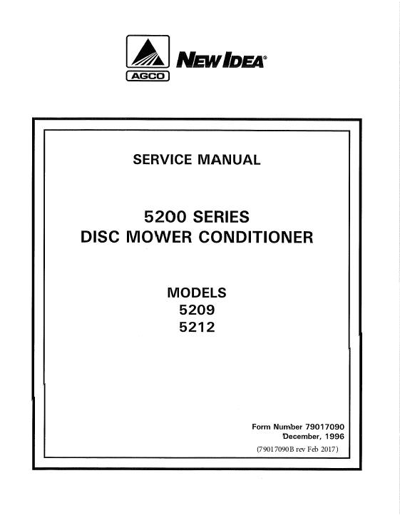 AGCO Technical Publications: New Idea Hay Equipment-Mower ...
