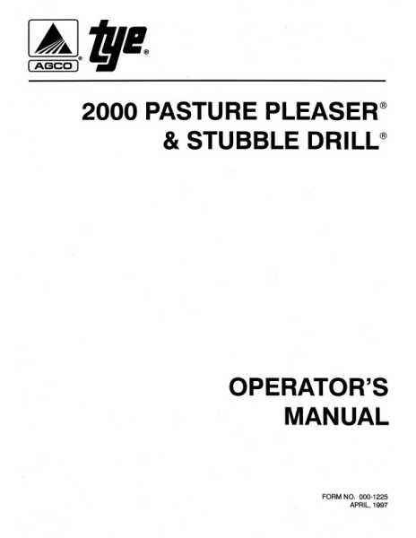 agco technical publications tye seeding grain drills 2000 series rh agcopubs com tye 2007 pasture pleaser manual Tye Pasture Pleaser Parts Catalog