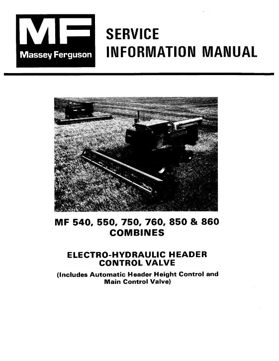 Agco Technical Publications Massey Ferguson Harvesting Combines Conventional 540 550 750 760 850 860 Header Electro Hydraulic Header Control Valve Includes Automatic Header Height Control And Main Control