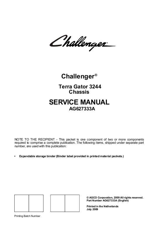 agco technical publications challenger applicators flotation rh agcopubs com Terra Gator On Water Terra Gator 1844