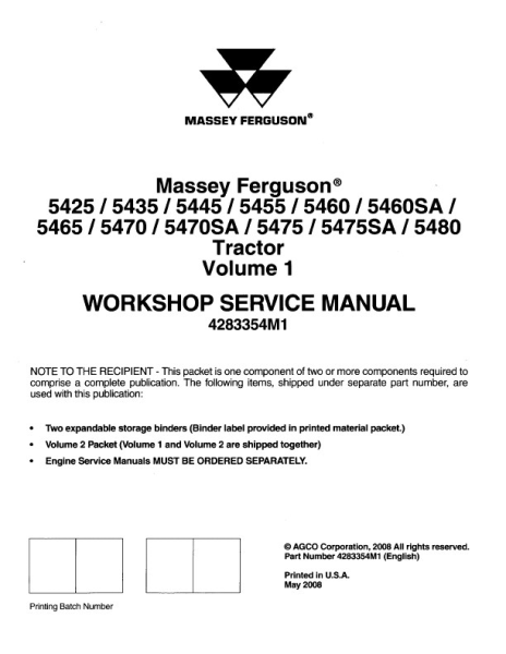 agco technical publications massey ferguson tractors agricultural rh agcopubs com 4WD Tractor Massey Ferguson 5460 5460 Massey Ferguson Transmission Problems