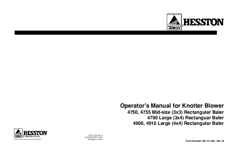 agco technical publications hesston hay equipment balers big Electrical Diagram