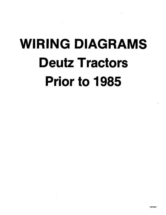 deutz tractor wiring diagram