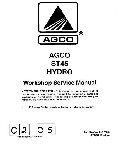 agco technical publications st45 compact tractor hydro trans rh agcopubs com Service Station HP Owner Manuals
