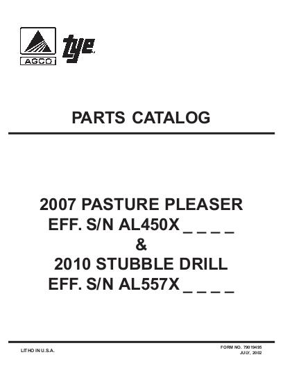 agco technical publications tye seeding grain drills 2007 passture rh agcopubs com Tye Paratill Tye Pasture Pleaser 104-4204 7Ft