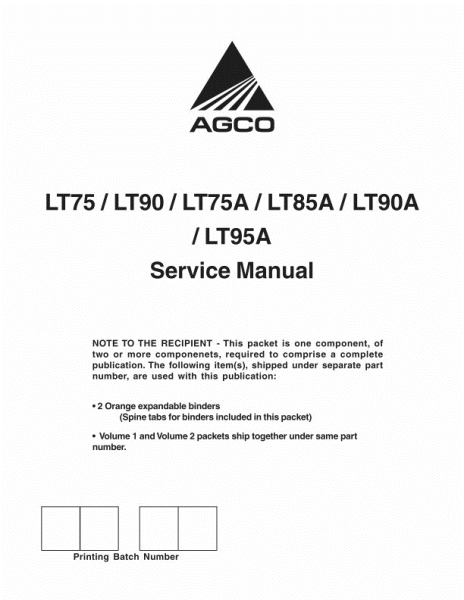AGCO Technical Publications: LT75 / LT90 / LT75A / LT85A
