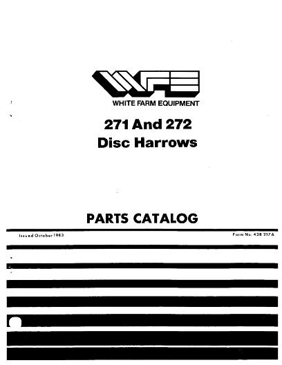 Agco Technical Publications White Tillage Disc Harrows 271 272