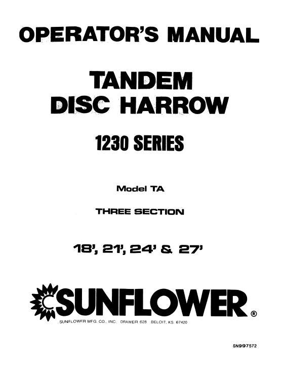Agco Technical Publications Sunflower Tillage Disc Harrows 1230