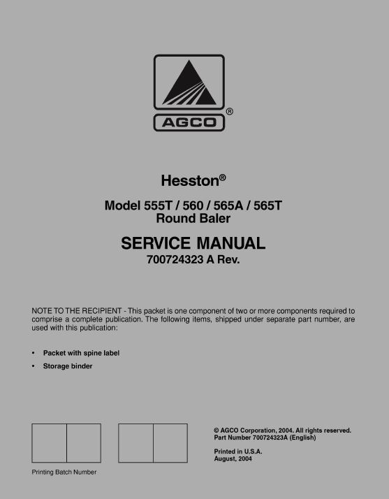 AGCO Technical Publications: Hesston Hay Equipment, Balers