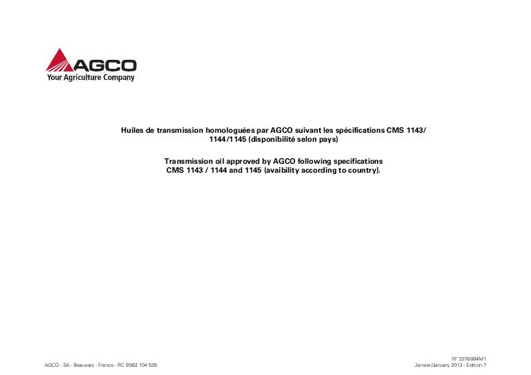 AGCO Technical Publications: Massey Ferguson Tractors-Agricultural